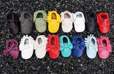 Printed Vegan Leather and Genuine Leather Baby Moccasins  Prints are Vegan Leather and Solid Colors are Genuine Leather  These fringe moccasins are sooo cute and trendy! Perfect for your little Cutie Pie. You will Absolutely LOVE them.