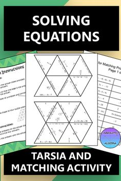 Your Algebra or 8th grade students will practice solving equations while having fun putting together a puzzle based on their answers OR you can differentiate by cutting up the rectangles and having the students match the problem with the answers!  This resource includes 16 equation problems (Note: the problems are the same for each activity.)  These problems are a combination of 2-step, variables on both sides, and distributing equations. #solving equations #distributing #2-step equations Math Resources, Math Activities, Math Worksheets, Solving Equations, Secondary Math, Math Stations, Word Problems, Math Lessons, Puzzle