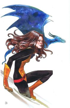 Shadowcat & Lockheed by Stephanie Hans