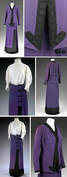 Suit, Mascotte, London, ca. 1912. Wool gabardine lined with silk satin, trimmed with Jacquard-woven silk braid and metal. Coat has cut-away front fastened with one silk-covered button. Pocket inside lining. Narrow, fitted skirt flares slightly at hem; made to look like wraparound, but is fastened in back with hooks & eyes. Five pair of decorative buttons descend from waist and are almost entirely hidden by coat, suggesting skirt was worn separately with blouse indoors. Victoria & Albert…