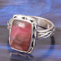 925 STERLING SILVER NEW DESIGNER RHODONITE RING 5.98g DJR4819 #Handmade #Ring