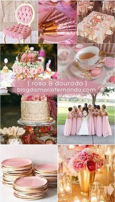 Decoração de Casamento Paleta de Cores Rosa e Dourado