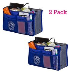 2 Pack Magik Travel Insert Handbag Purse Large Liner Organizer Tidy Bags Expandable 13 Pocket Handbag Insert Purse Organizer with Handles (Sapphire) by Magik >>> Awesome outdoor product. Click the image : Travel size items Travel Toiletries, Purse Organization, Travel Size Products, Makeup Brushes, Packing, Pocket, Purses, Sapphire, Bags