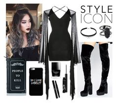 """""""Untitled #1723"""" by aginica ❤ liked on Polyvore featuring ASOS, Balmain, Killstar, Butter London, Yves Saint Laurent and Kendra Scott"""