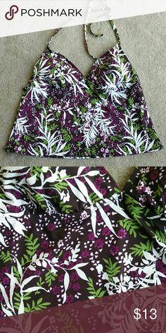 Merona floral swim top Merona floral swim top features lined cups and a tie halter neckline Merona Swim Bikinis