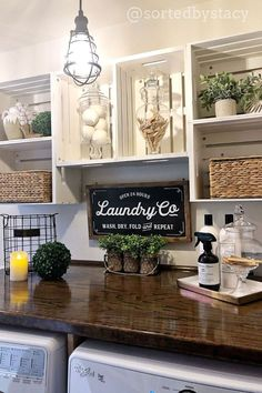 Farmhouse Laundry Room Organization Ideas - Doing laundry would be a really easy chore - if all of your family's clothes were the same. Laundry Room Organization, Laundry Room Design, Laundry Organizer, Organizing, Laundry Signs, Shelves For Laundry Room, Organization Ideas For The Home, Laundry Detergent Storage, Laundry Room Curtains