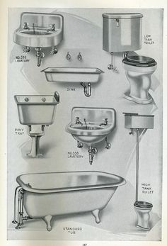 Plumbing fixtures from 1923 Pacific House Kit catalog.