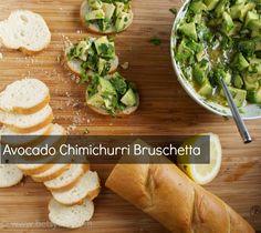 Avocado Chimichurri Bruschetta Recipe Appetizers with lemon juice, red wine vinegar, salt, dried oregano, ground black pepper, olive oil, chopped cilantro, fresh parsley, avocado, toasted baguette