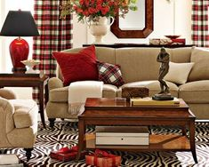 Living room with red accents.