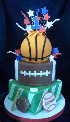 Sports cake - Basketball, Football and Baseball!