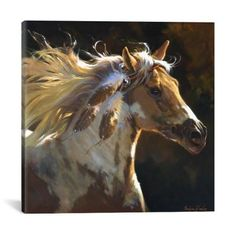 Great Art Deserves to be on Canvas. Unlike cheap posters and paper prints that require additional framing, Gicle canvas artwork offers the texture, look and feel of fine-art paintings. This artwork is crafted in the USA with artist-grade canvas, prof Abstract Canvas, Canvas Artwork, Canvas Wall Art, Abstract Print, Indian Horses, Horse Posters, Painting Prints, Art Prints, Horse Wall Art