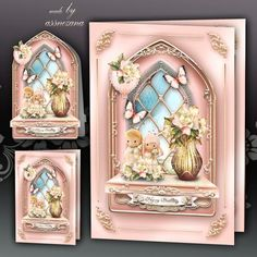 Pink Windows Card Kit on Craftsuprint designed by Atlic Snezana - Pink Windows Card Kit: 4 sheets for print with decoupage for 3D effect plus few sentiment tags (for your own personal text) - Now available for download!