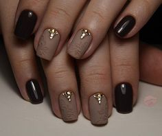Beautiful nails 2016, Black and beige nails, Evening dress nails, Evening nails, Extravagant nails, Gala nails, Luxurious nails, Nails ideas 2016