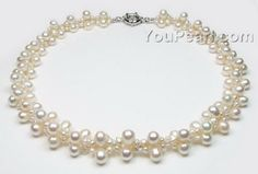 Multi strand white freshwater pearl necklace wholesale