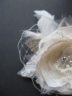 Fascinator bridal hair piece clip with tulle Vintage Rustic wedding Flower burlap champagne Beige rhinestone pearl Ivory lot LaceFeather
