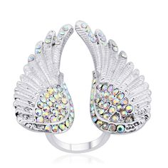 White Austrian Crystal Wings Ring in Silvertone (Adjustable)