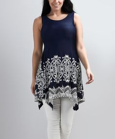 Another great find on #zulily! Navy Lace-Print Sleeveless Sidetail Tunic - Plus #zulilyfinds