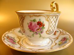 Vintage hand painted porcelain cup and saucer set by Thomas, Germany