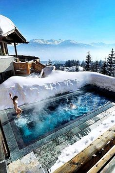 swimminpool in snow honeymoon destinations switzerland resort