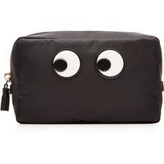 Anya Hindmarch Eyes Fabric Make-Up Pouch (910 SAR) ❤ liked on Polyvore featuring beauty products, beauty accessories, bags & cases, black and anya hindmarch