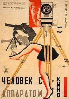 Poster for the Russian avant-garde film The Man with the Movie Camera, Directed by Dziga Vertov and edited by his wife Elizaveta Svilova. Avant Garde Film, Russian Avant Garde, Alexandre Rodtchenko, Cinema Posters, Movie Posters, Russian Constructivism, Soviet Art, Soviet Union, Movie Camera