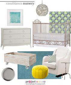 Project Nursery Design Board featuring the stunning @Bratt Decor Casablanca Crib! #designboard #nursery