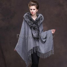Features Wool with Fox Fur Collar Genuine Fox Fur in natural colour to match The Fur is long, lush and silky Suitable for all sizes including plus sizes up to Unlined Single hook and eye closure Brand: DAYMISFURRY Dry clean and professional fur clean only Wool Cape, Wool Poncho, Boho Chic, Wedding Shawl, Vintage Buttons, Fur Collars, Fox Fur, Lana, Fur Coat
