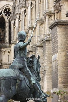 Statue of Joan of Arc outside Rheims Cathedral, Rheims, France