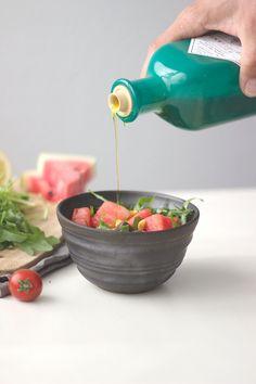 Wassermelonensalat mit Minze und Rucola, vegan