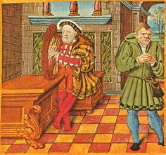 King Henry VIII playing the harp
