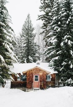 Snowy lodge.