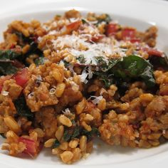 Farro with Sausage, Swiss Chard, and Roasted Tomato Sauce