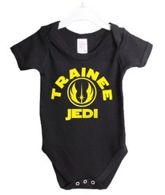 Amazon.com: Trainee Jedi Funny Sci Fi Babygrow Baby Shower Gift Suit 6/12 Months Black Vest Yellow Print-6/12 Black -Yellow Print: Baby