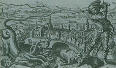 Protestant woodcut depicting Gustavas Adophus, King of Sweeden, defeating forces of the Pope during 30 Years War