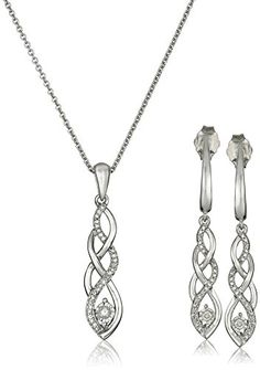 "Sterling Silver Diamond Twist Pendant Necklace and Earrings Box Set (1/5 cttw), 18"" *** You can get more details by clicking on the image. (Amazon affiliate link)"