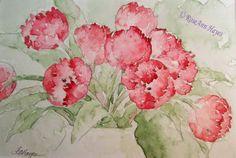 Watercolor Paintings by RoseAnn Hayes: Red Tulips
