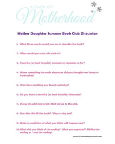 Mother Daughter (or son) Summer Reading Challenge Summer Book Club Book Discussion Questions PDF available @  Www.ADashofMotherhood.com