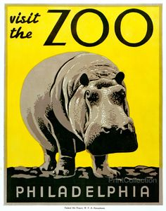 Visit the Zoo - Philadelphia. Created by the Pennsylvania Federal Art Project, WPA. around 1936 as a color woodblock