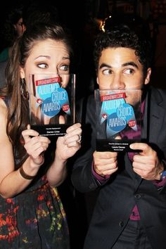 Laura Osnes and Darren Criss get silly with their awards