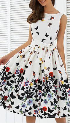 Sleeveless Floral Self Tie A Line Dress
