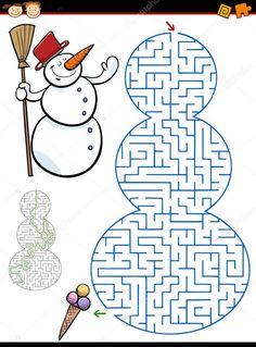 Christmas Maze, Kids Rugs, Worksheets, Illustration, Google, Decor, Labyrinths, Winter, Decorating
