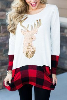 Stay comfy all day in this white t-shirt. Features with sequin elk cartoon and plaid patchwork design, pairing it with your jeans would be perfect. See more amazing items at Fichic.com!