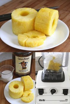 Serves 2  1 cup crushed ice  1/2 fresh pineapple, peeled and cored  1/2 cup coconut cream  3 oz rum  pineapple wedges for garnishing  granulated sugar to garnish the glasses  Put the ice and half pineapple in the blender machine (I use a Vita-Mix) and press on high-speed until is well strained and the fresh juice extracted. Add rum and coconut cream and blend until combined.
