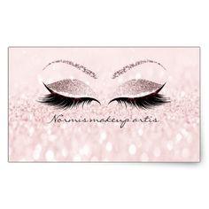 Eyelash Extension Makeup Beauty Salon Pink Glitter Rectangular Sticker - ideen - Make Up