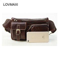LOVMAXI असली लेदर कमर पैक पुरुषों कमर बैग फैनी पैक बैग फोन पाउच यात्रा पुरुष छोटे बैग चमड़े के बैग Waist Pack, Malaga, Fanny Pack, Zip Around Wallet, Pouch, Phone, Leather Bags, Travel, Men