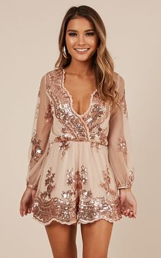 Showpo Big Baller Playsuit In Rose Gold Sequin Romper Long Sleeve M Medium Silvester Outfit, Silvester Party, Sexy Dresses, Cute Dresses, Fashion Dresses, Peplum Dresses, Long Romper, Long Sleeve Romper, Sequin Playsuit
