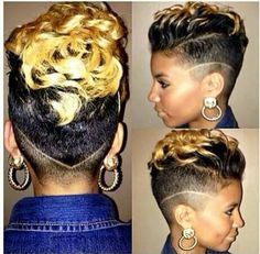 Check out our gallery of some seriously cute and sassy hair cuts we noticed this week Dope Hairstyles, My Hairstyle, Curly Mohawk Hairstyles, Shaved Hairstyles, Short Hair Cuts, Short Hair Styles, Short Black Haircuts, Caramel Blond, Coiffure Hair