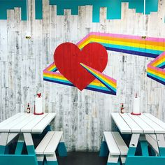 rainbow heart mural at Chk Chk in Portland, Oregon