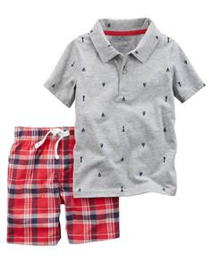 Baby Boy 2-Piece Printed Polo & Plaid Short Set from Carters.com. Shop clothing & accessories from a trusted name in kids, toddlers, and baby clothes.