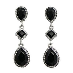 Rosemarie Collections Womens Fashion Jewelry Crystal Teardrop Dangle Earrings Silver and Black >>> Check out the image by visiting the link.-It is an affiliate link to Amazon.